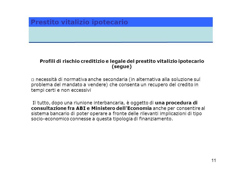 11 Profili di rischio creditizio e legale del prestito vitalizio ipotecario (segue) o necessità di normativa anche secondaria (in alternativa alla sol