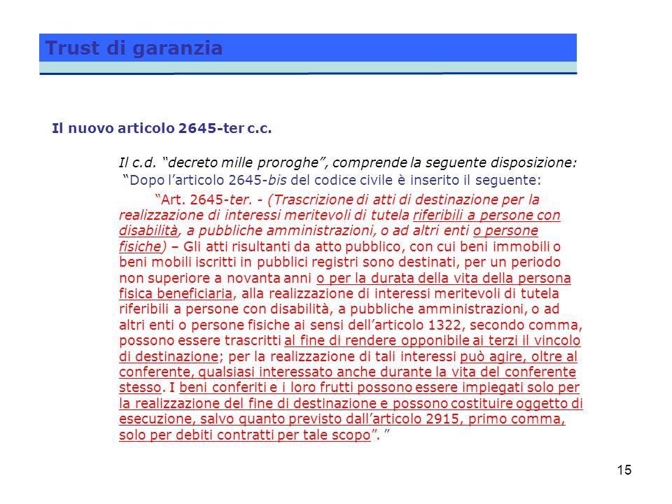 15 Trust di garanzia Il nuovo articolo 2645-ter c.c. Il c.d. decreto mille proroghe, comprende la seguente disposizione: Dopo larticolo 2645-bis del c