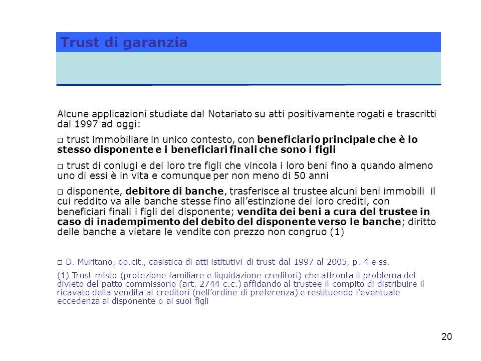 20 Trust di garanzia Alcune applicazioni studiate dal Notariato su atti positivamente rogati e trascritti dal 1997 ad oggi: o trust immobiliare in uni