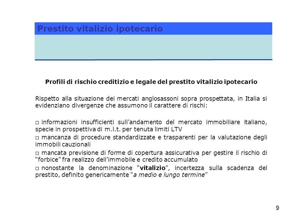 9 Profili di rischio creditizio e legale del prestito vitalizio ipotecario Rispetto alla situazione dei mercati anglosassoni sopra prospettata, in Ita