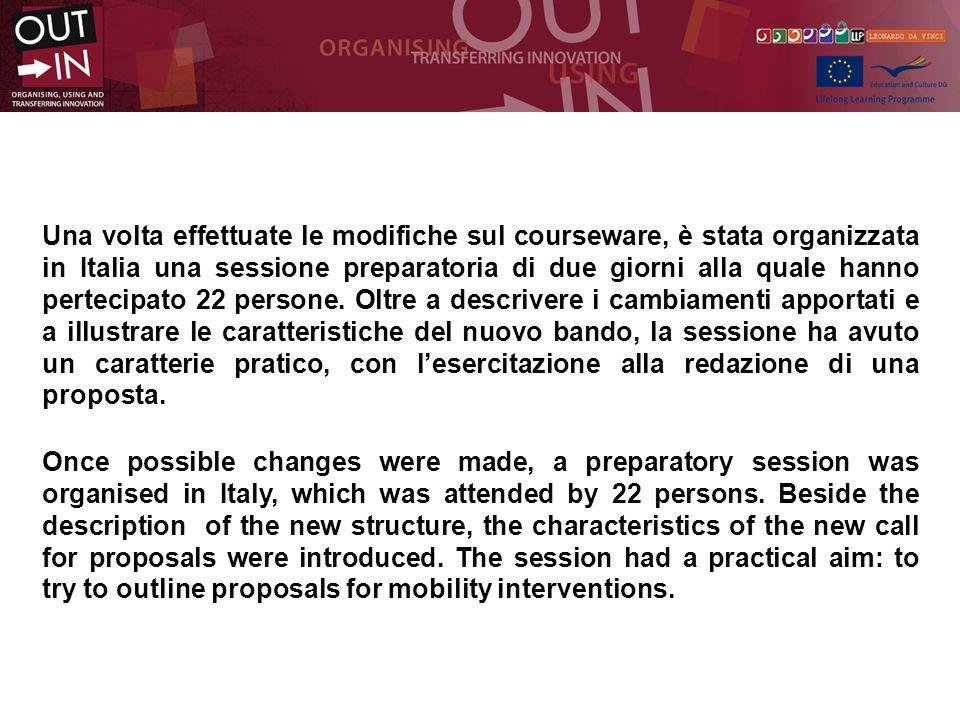Una volta effettuate le modifiche sul courseware, è stata organizzata in Italia una sessione preparatoria di due giorni alla quale hanno pertecipato 22 persone.