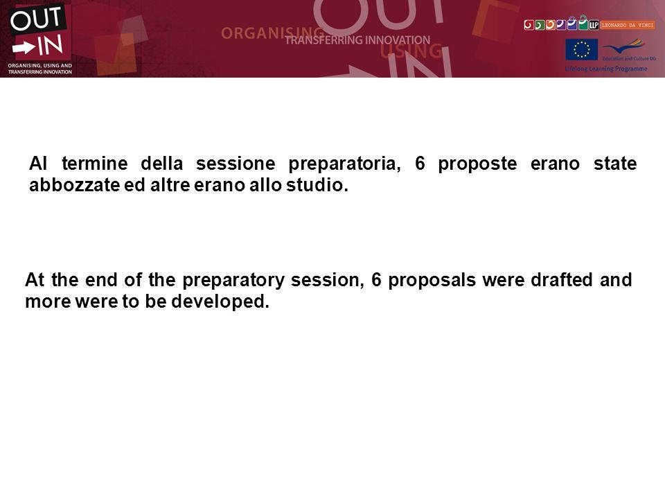 Al termine della sessione preparatoria, 6 proposte erano state abbozzate ed altre erano allo studio.