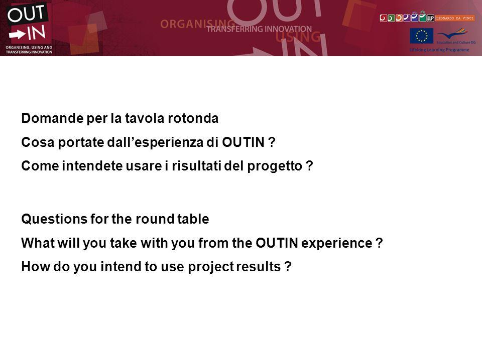 Domande per la tavola rotonda Cosa portate dallesperienza di OUTIN .