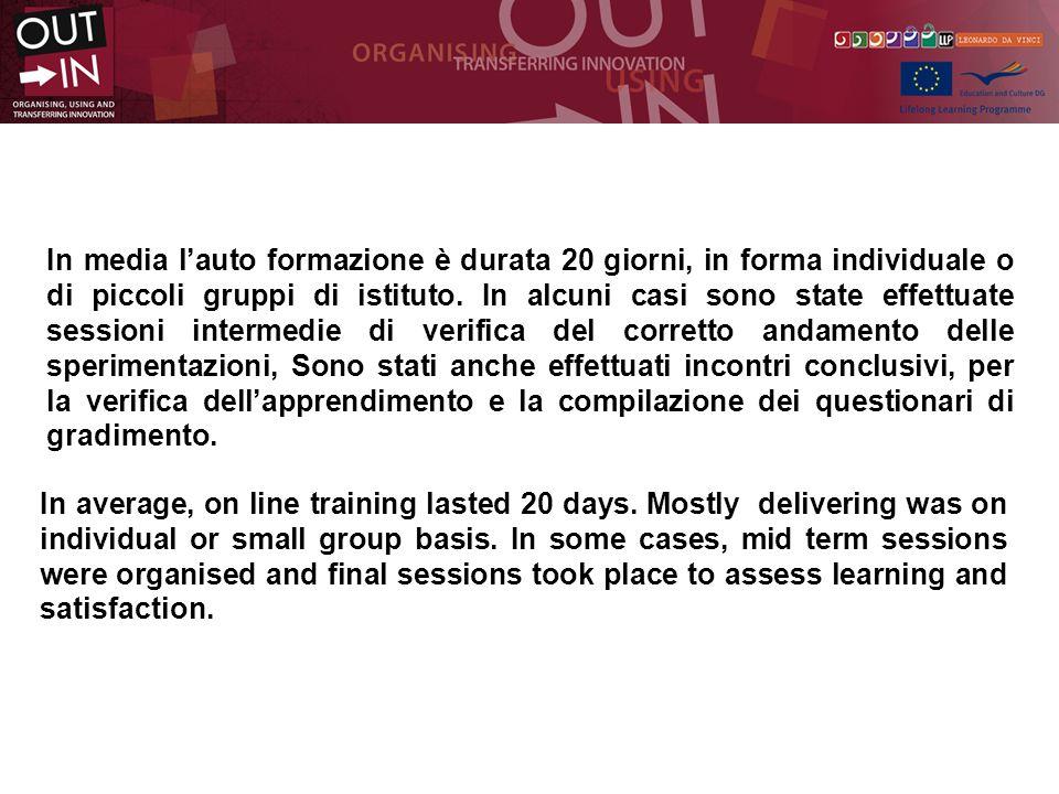 In media lauto formazione è durata 20 giorni, in forma individuale o di piccoli gruppi di istituto.