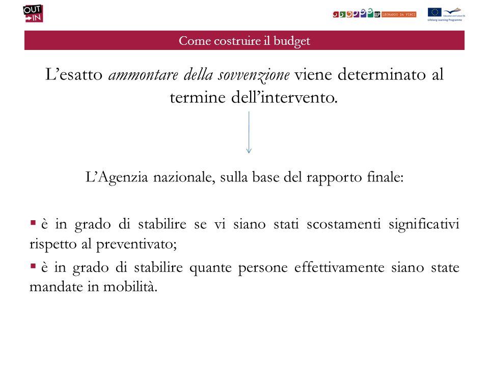 Come costruire il budget Lesatto ammontare della sovvenzione viene determinato al termine dellintervento.