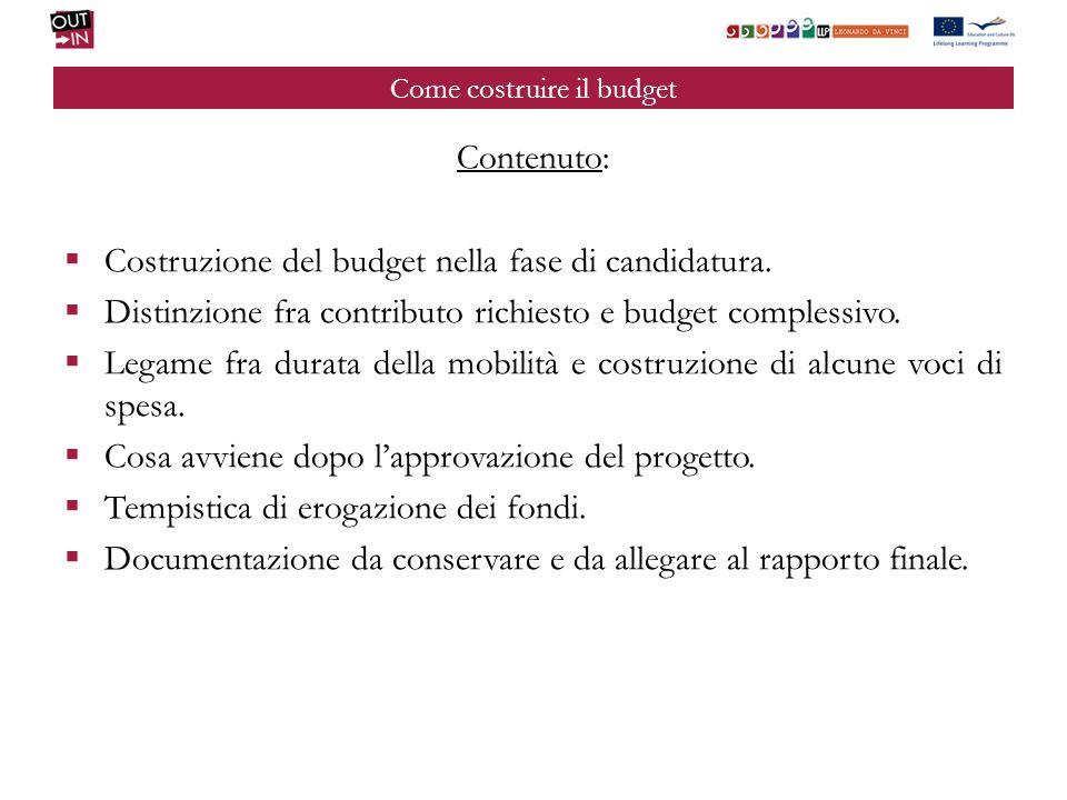 Come costruire il budget Contenuto: Costruzione del budget nella fase di candidatura.