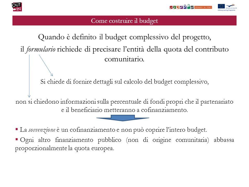 Come costruire il budget Quando è definito il budget complessivo del progetto, il formulario richiede di precisare lentità della quota del contributo comunitario.
