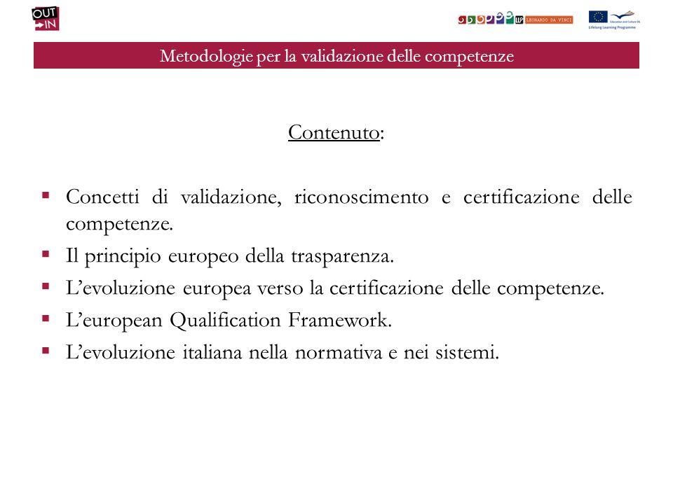 Metodologie per la validazione delle competenze Contenuto: Concetti di validazione, riconoscimento e certificazione delle competenze. Il principio eur