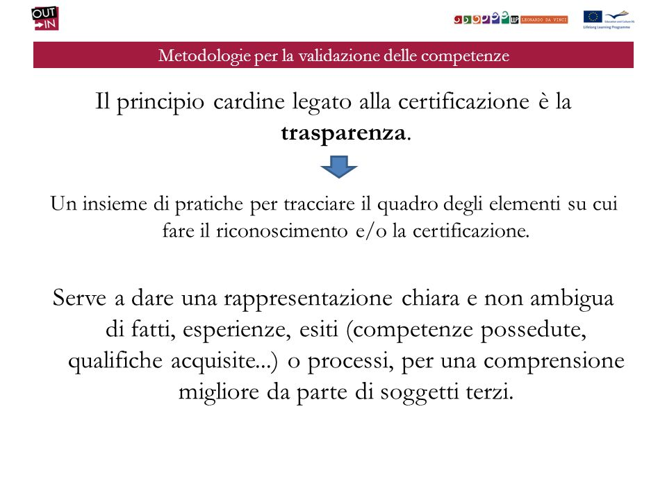 Metodologie per la validazione delle competenze Il principio cardine legato alla certificazione è la trasparenza. Un insieme di pratiche per tracciare