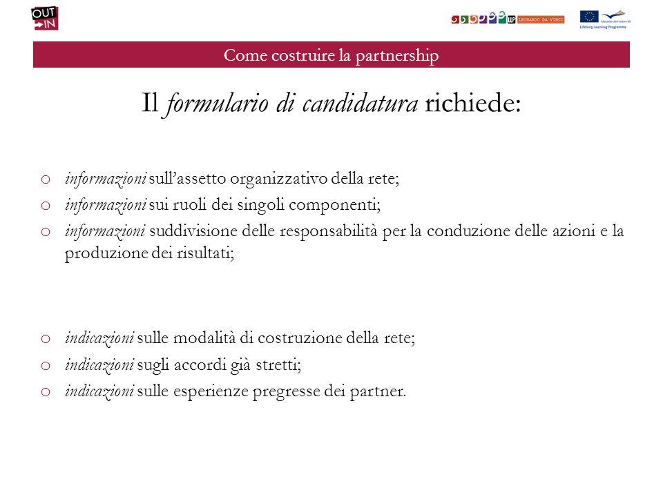 Come costruire la partnership Il formulario di candidatura richiede: o informazioni sullassetto organizzativo della rete; o informazioni sui ruoli dei