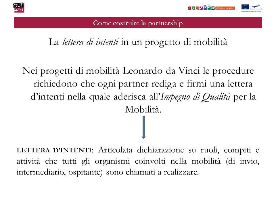 Come costruire la partnership La lettera di intenti in un progetto di mobilità Nei progetti di mobilità Leonardo da Vinci le procedure richiedono che