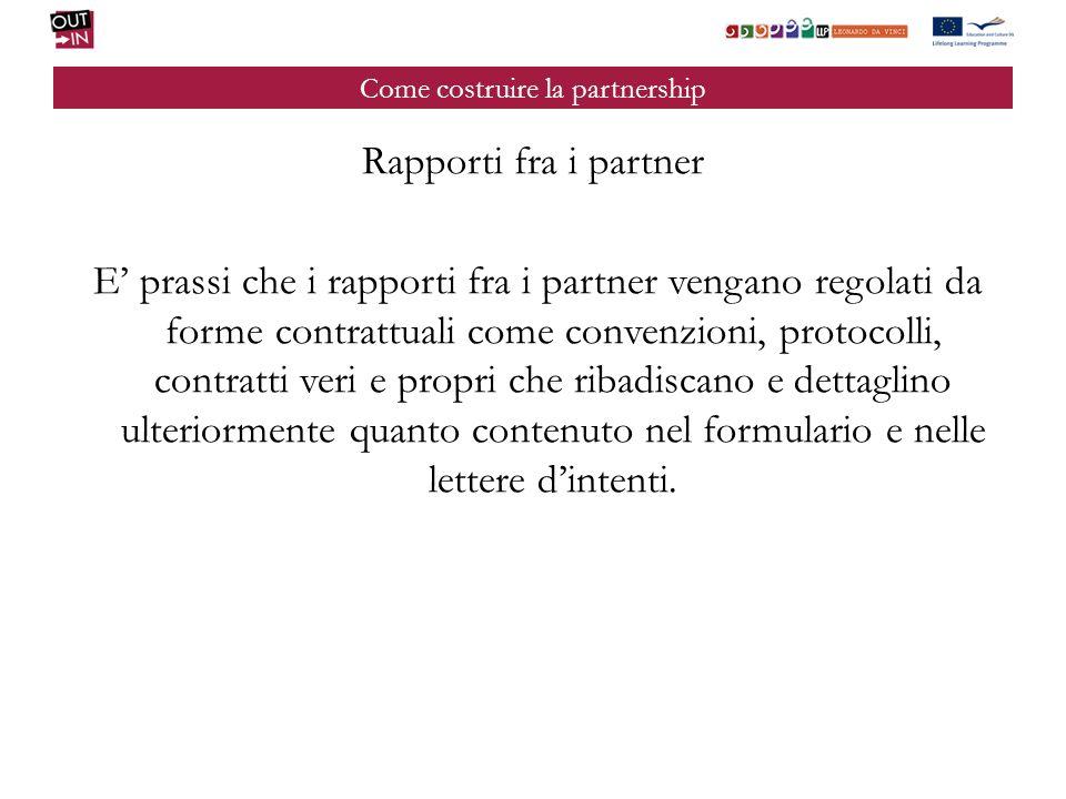 Come costruire la partnership Rapporti fra i partner E prassi che i rapporti fra i partner vengano regolati da forme contrattuali come convenzioni, pr