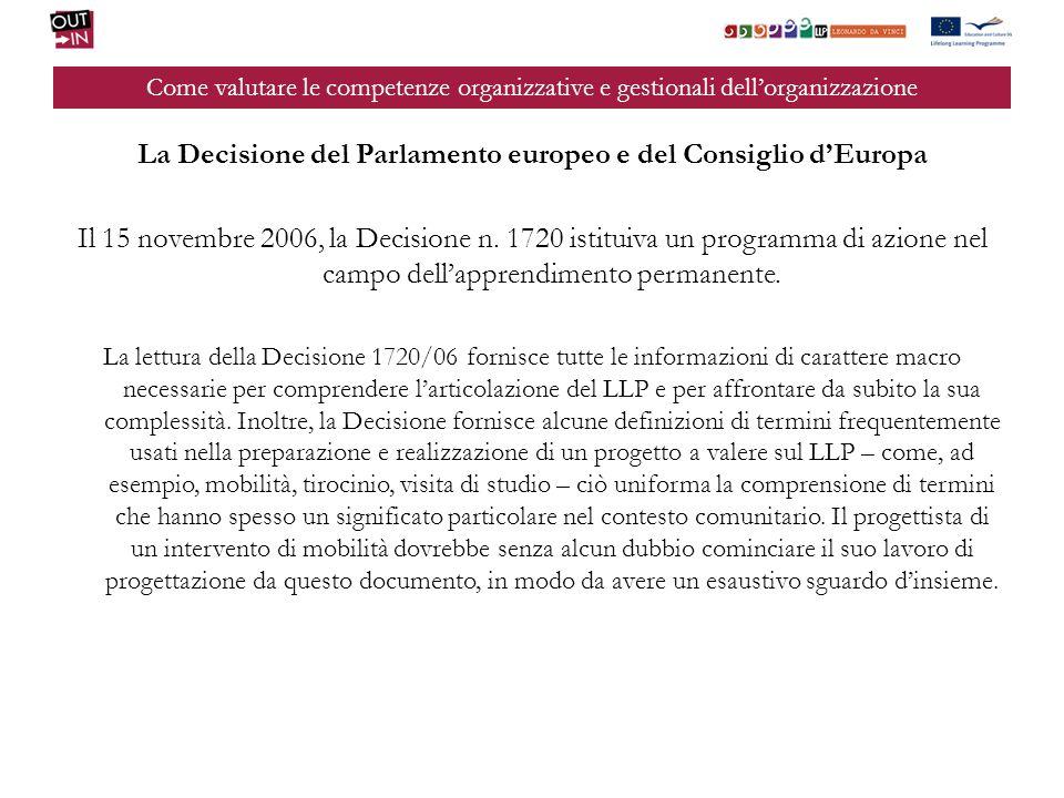 Come valutare le competenze organizzative e gestionali dellorganizzazione La Decisione del Parlamento europeo e del Consiglio dEuropa Il 15 novembre 2