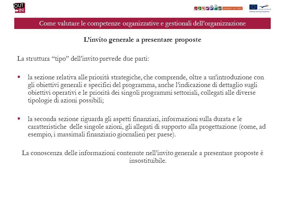 Come valutare le competenze organizzative e gestionali dellorganizzazione Linvito generale a presentare proposte La struttura tipo dellinvito prevede