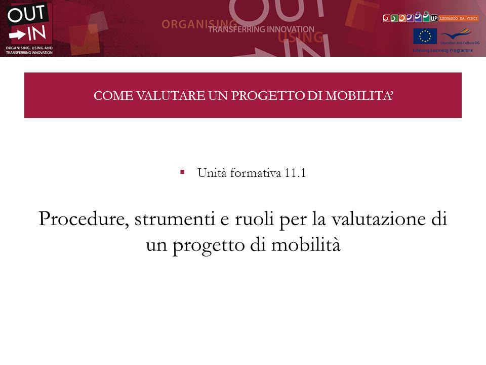 COME VALUTARE UN PROGETTO DI MOBILITA Unità formativa 11.1 Procedure, strumenti e ruoli per la valutazione di un progetto di mobilità
