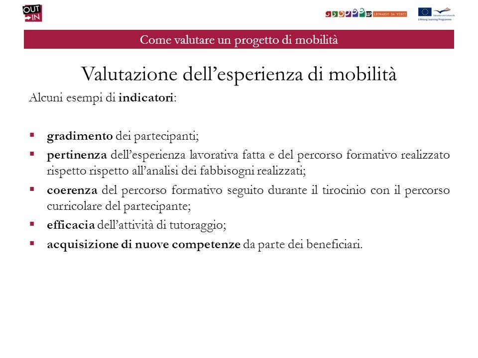 Come valutare un progetto di mobilità Valutazione dellesperienza di mobilità Alcuni esempi di indicatori: gradimento dei partecipanti; pertinenza dell