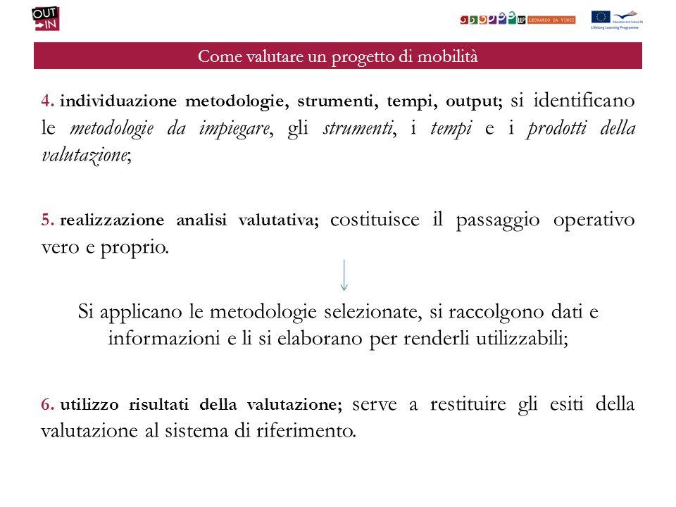 Come valutare un progetto di mobilità 4. individuazione metodologie, strumenti, tempi, output; si identificano le metodologie da impiegare, gli strume