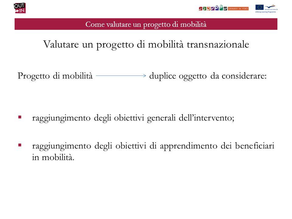 Come valutare un progetto di mobilità Valutare un progetto di mobilità transnazionale Progetto di mobilità duplice oggetto da considerare: raggiungime