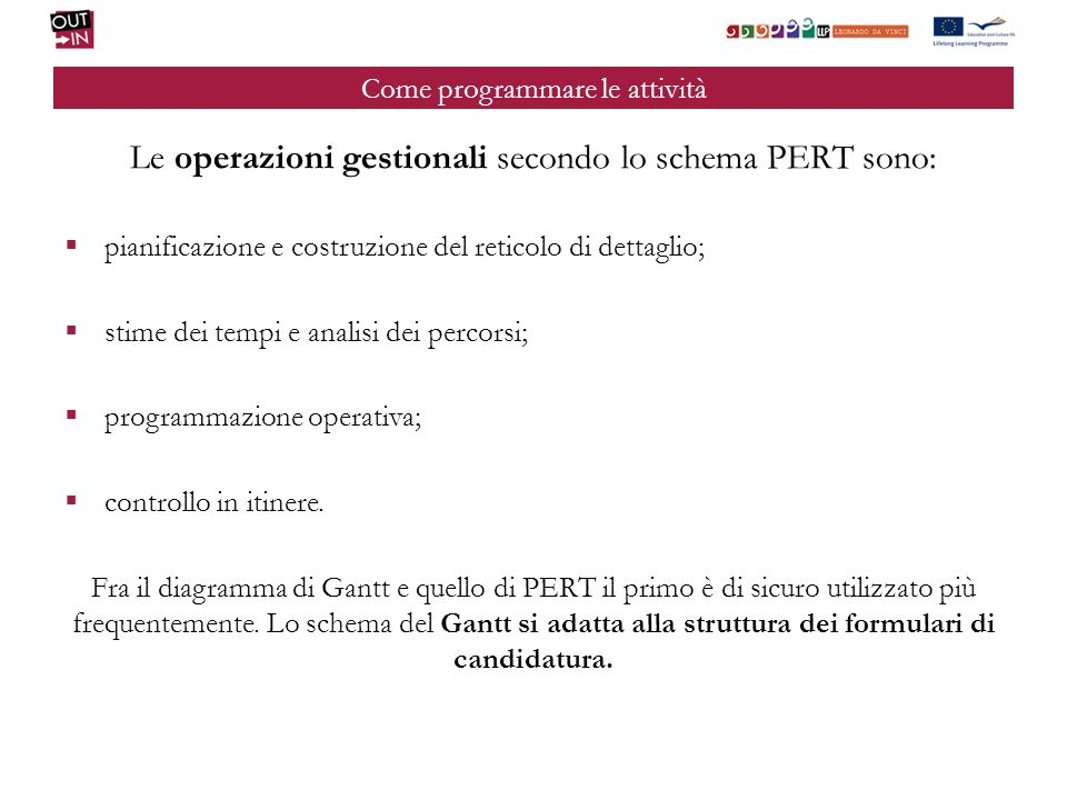 Come programmare le attività Le operazioni gestionali secondo lo schema PERT sono: pianificazione e costruzione del reticolo di dettaglio; stime dei t