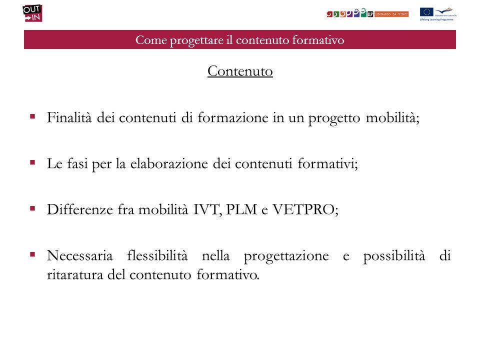 Come progettare il contenuto formativo Contenuto Finalità dei contenuti di formazione in un progetto mobilità; Le fasi per la elaborazione dei contenu