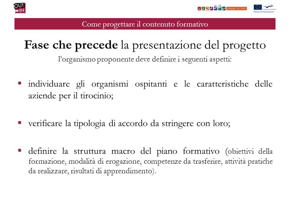 Come progettare il contenuto formativo Fase che precede la presentazione del progetto lorganismo proponente deve definire i seguenti aspetti: individu
