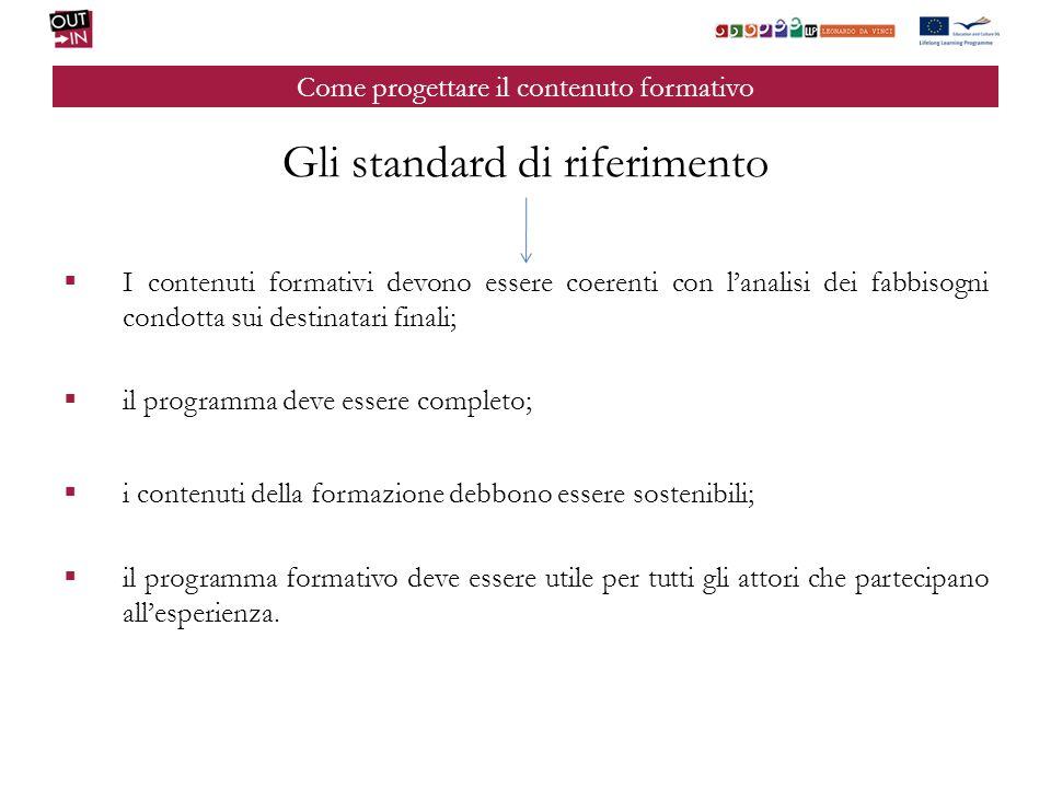 Come progettare il contenuto formativo Gli standard di riferimento I contenuti formativi devono essere coerenti con lanalisi dei fabbisogni condotta s