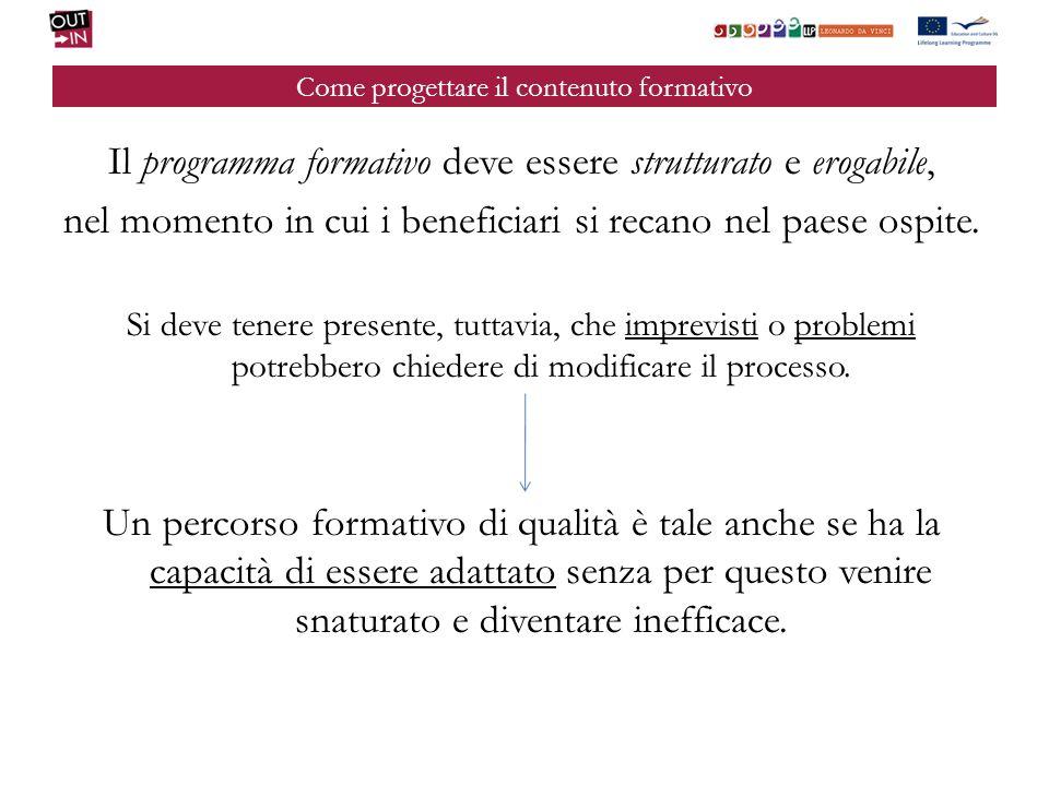 Come progettare il contenuto formativo Il programma formativo deve essere strutturato e erogabile, nel momento in cui i beneficiari si recano nel paes