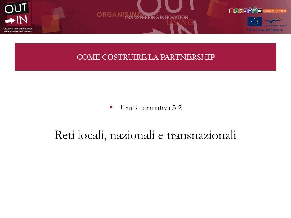 COME COSTRUIRE LA PARTNERSHIP Unità formativa 3.2 Reti locali, nazionali e transnazionali