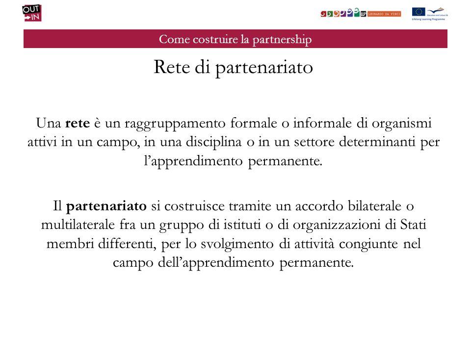 Come costruire la partnership Rete di partenariato Una rete è un raggruppamento formale o informale di organismi attivi in un campo, in una disciplina o in un settore determinanti per lapprendimento permanente.