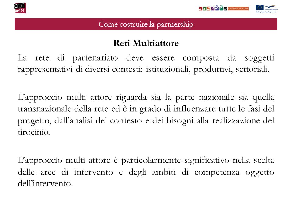 Come costruire la partnership Reti Multiattore La rete di partenariato deve essere composta da soggetti rappresentativi di diversi contesti: istituzionali, produttivi, settoriali.