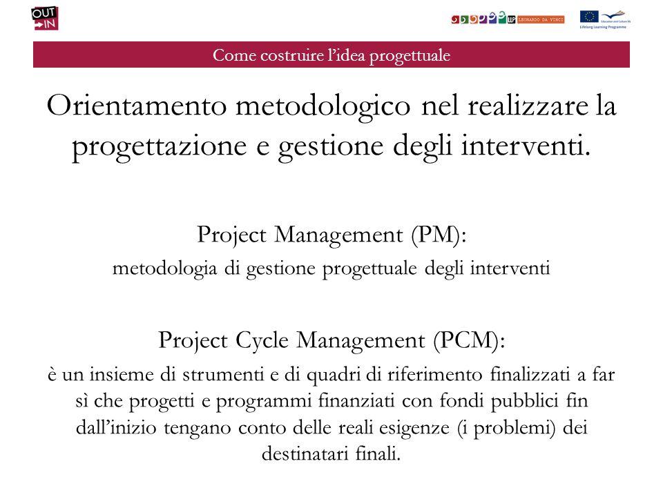 Come costruire lidea progettuale Il Project Cycle Management prevede che i progetti: si dotino di robusti sistemi di monitoraggio e valutazione; adottino un insieme di indicatori oggettivamente verificabili per descrivere gli obiettivi in termini effettivamente misurabili.