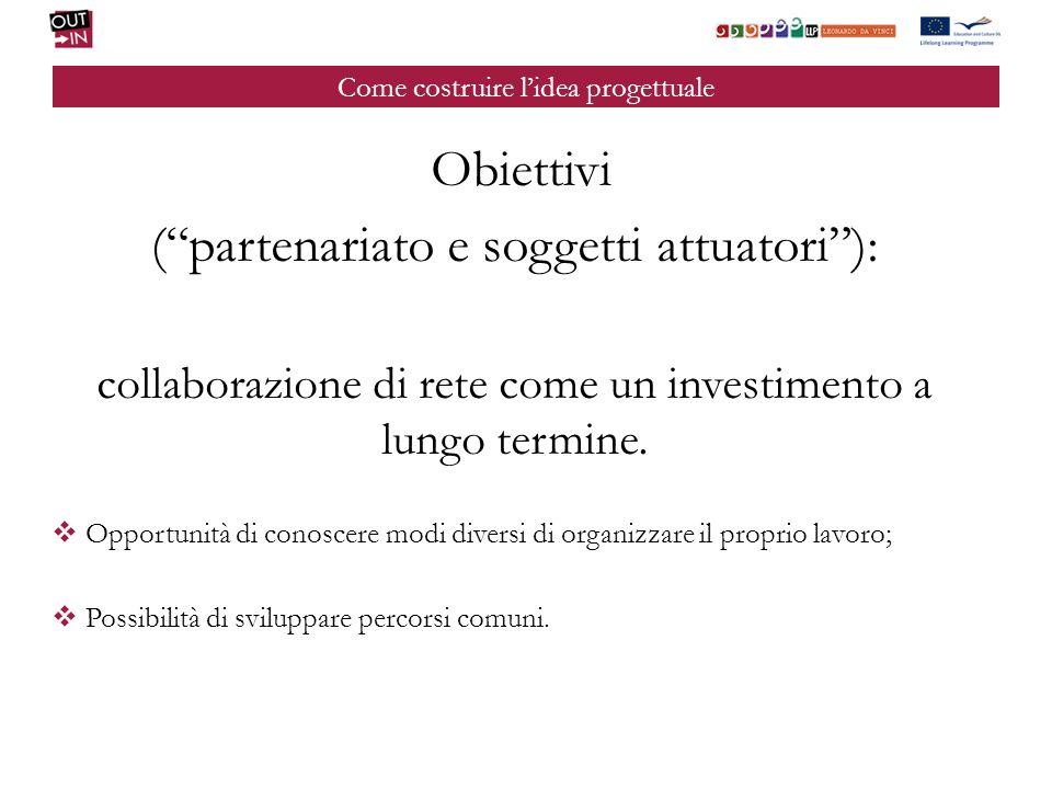 Come costruire lidea progettuale Obiettivi (partenariato e soggetti attuatori): collaborazione di rete come un investimento a lungo termine.