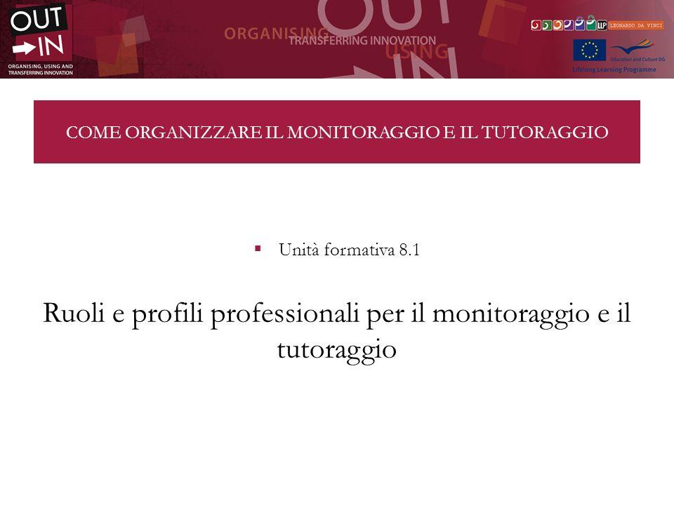 COME ORGANIZZARE IL MONITORAGGIO E IL TUTORAGGIO Unità formativa 8.1 Ruoli e profili professionali per il monitoraggio e il tutoraggio