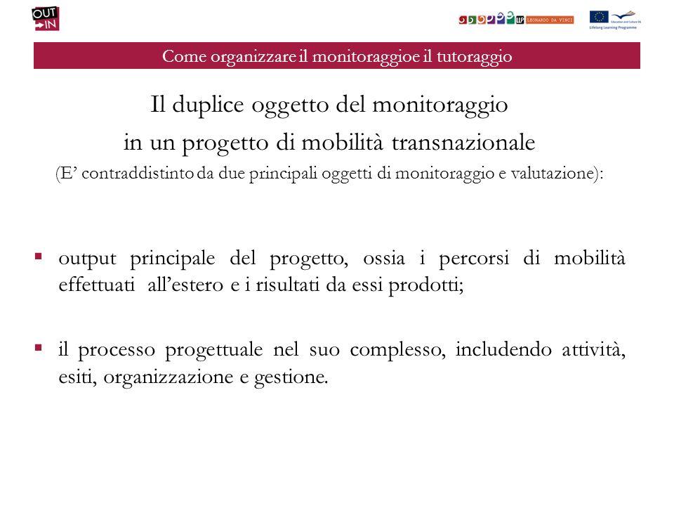 Come organizzare il monitoraggioe il tutoraggio Il duplice oggetto del monitoraggio in un progetto di mobilità transnazionale (E contraddistinto da du