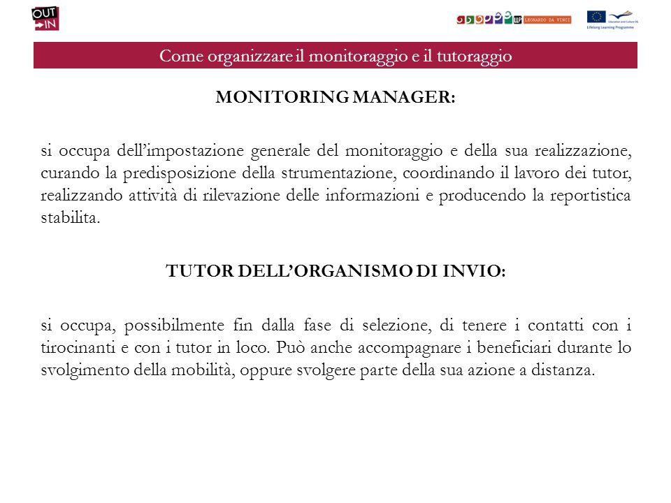 Come organizzare il monitoraggio e il tutoraggio MONITORING MANAGER: si occupa dellimpostazione generale del monitoraggio e della sua realizzazione, c