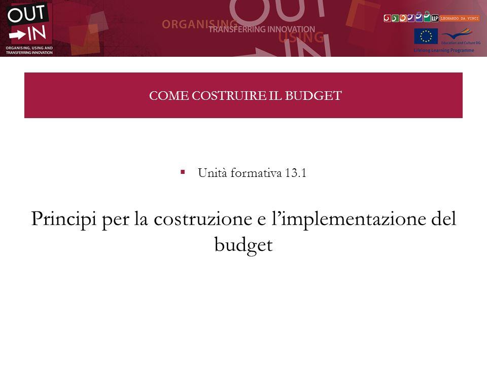 COME COSTRUIRE IL BUDGET Unità formativa 13.1 Principi per la costruzione e limplementazione del budget