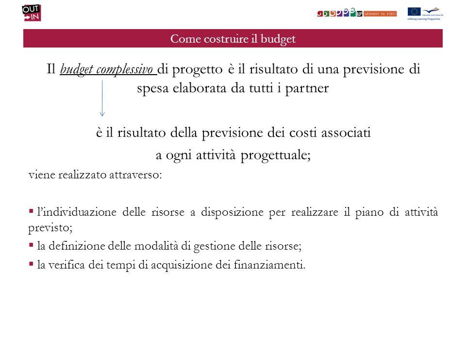 Come costruire il budget Il budget complessivo di progetto è il risultato di una previsione di spesa elaborata da tutti i partner è il risultato della