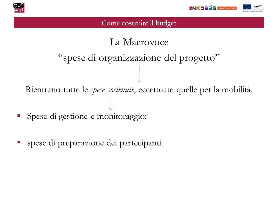 Come costruire il budget La Macrovoce spese di organizzazione del progetto Rientrano tutte le spese sostenute, eccettuate quelle per la mobilità. Spes