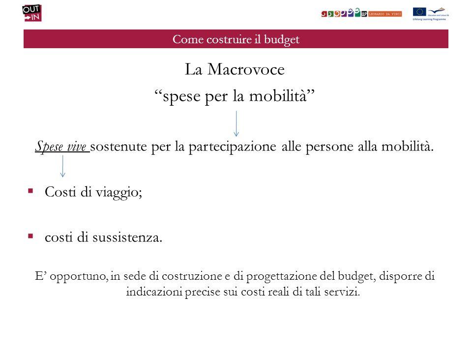 Come costruire il budget La Macrovoce spese per la mobilità Spese vive sostenute per la partecipazione alle persone alla mobilità. Costi di viaggio; c