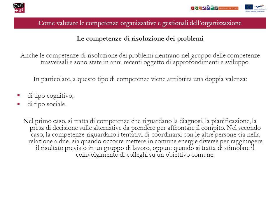 Come valutare le competenze organizzative e gestionali dellorganizzazione Le competenze di risoluzione dei problemi Anche le competenze di risoluzione
