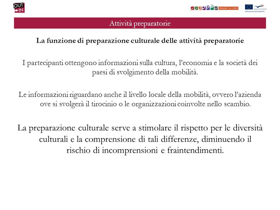 Attività preparatorie La funzione di preparazione culturale delle attività preparatorie I partecipanti ottengono informazioni sulla cultura, leconomia e la società dei paesi di svolgimento della mobilità.