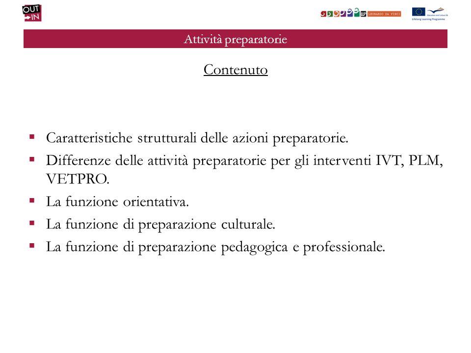 Attività preparatorie Contenuto Caratteristiche strutturali delle azioni preparatorie.