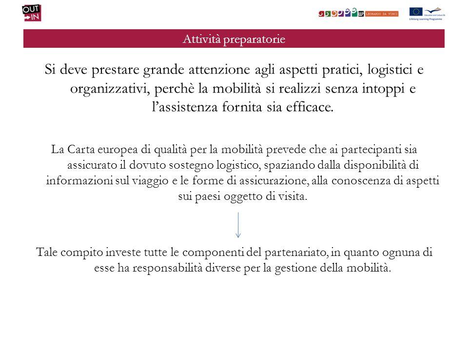 Attività preparatorie Si deve prestare grande attenzione agli aspetti pratici, logistici e organizzativi, perchè la mobilità si realizzi senza intoppi