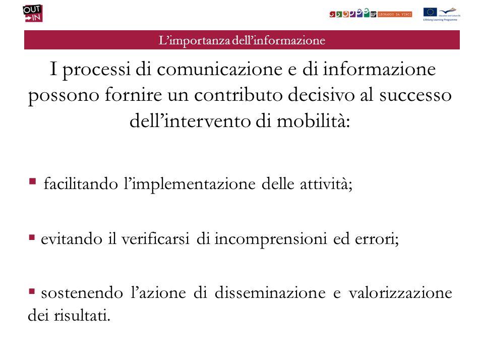 Limportanza dellinformazione I processi di comunicazione e di informazione possono fornire un contributo decisivo al successo dellintervento di mobili
