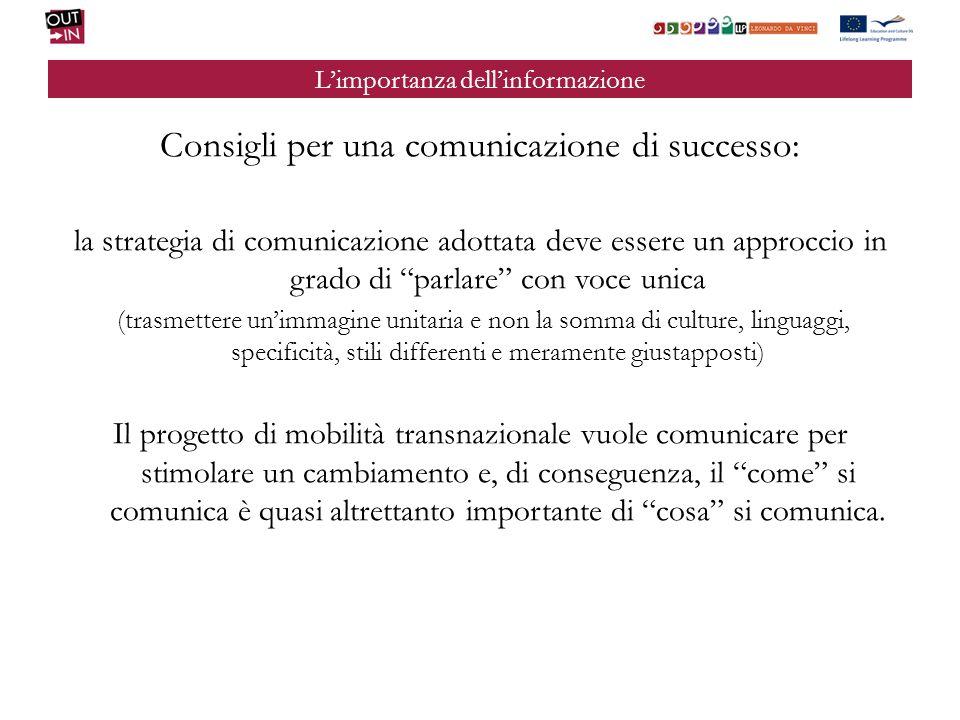Limportanza dellinformazione Consigli per una comunicazione di successo: la strategia di comunicazione adottata deve essere un approccio in grado di p