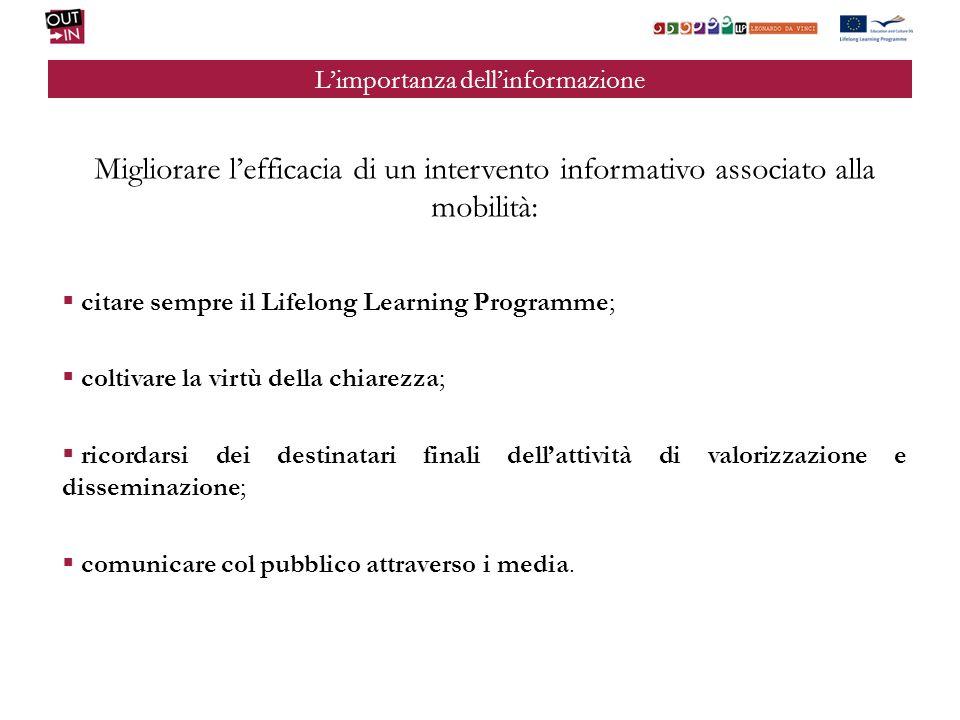 Limportanza dellinformazione Migliorare lefficacia di un intervento informativo associato alla mobilità: citare sempre il Lifelong Learning Programme;