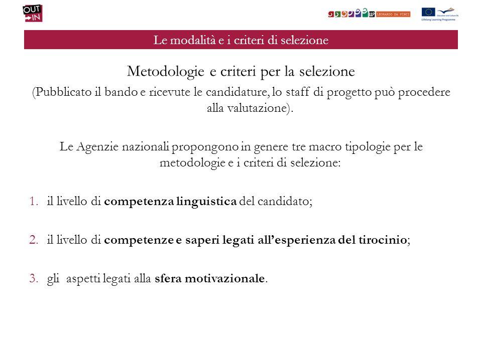 Le modalità e i criteri di selezione Metodologie e criteri per la selezione (Pubblicato il bando e ricevute le candidature, lo staff di progetto può procedere alla valutazione).