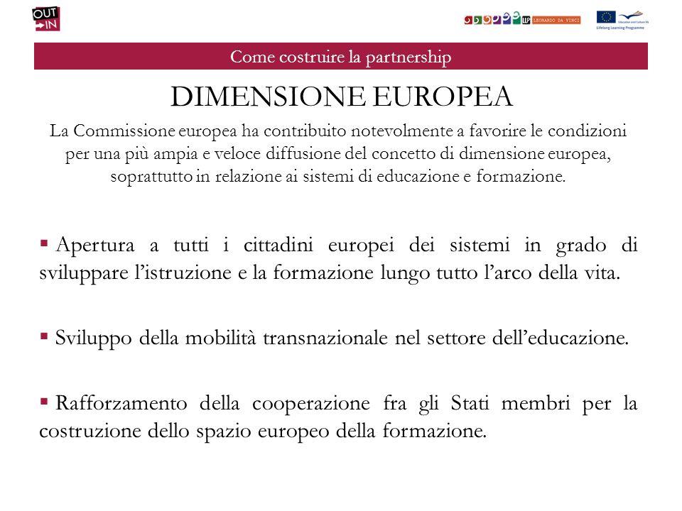 Come costruire la partnership DIMENSIONE EUROPEA La Commissione europea ha contribuito notevolmente a favorire le condizioni per una più ampia e veloc