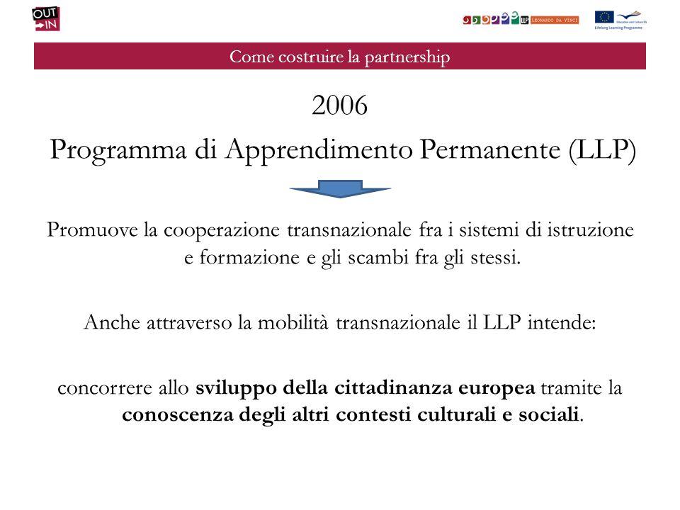 Come costruire la partnership 2006 Programma di Apprendimento Permanente (LLP) Promuove la cooperazione transnazionale fra i sistemi di istruzione e f
