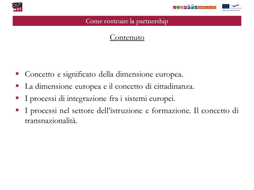 Come costruire la partnership Contenuto Concetto e significato della dimensione europea. La dimensione europea e il concetto di cittadinanza. I proces